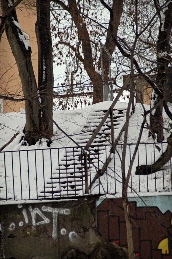 Blecktornsstigen 9 gård. Marklagd trappa i trä ledande till en altan där olika komposter är uppställda..23 steg