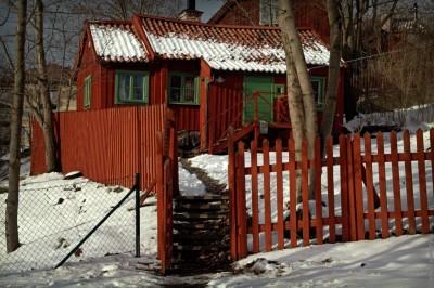 Ingång med trappa till Svenska Ords skrivarstuga