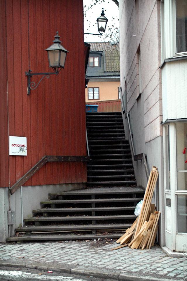 Passage mellan husen i tre sektioner